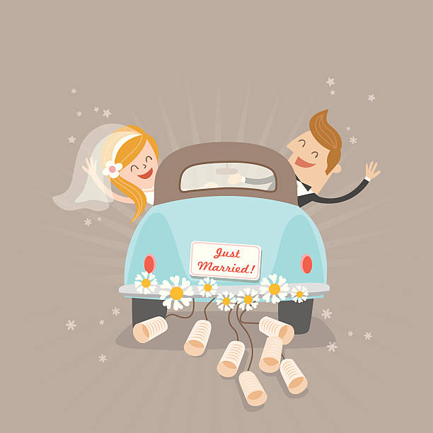 Just married voiture - Illustration vectorielle