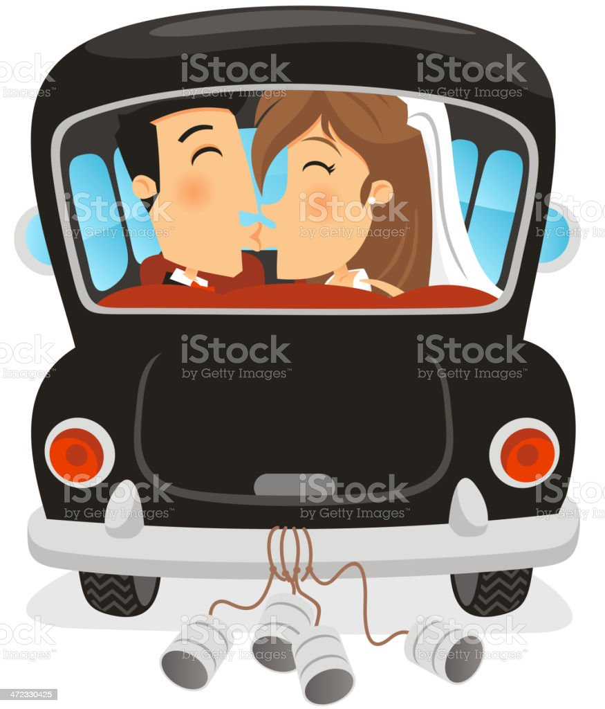 Just Married Car with Groom and Bride Kiss vector art illustration