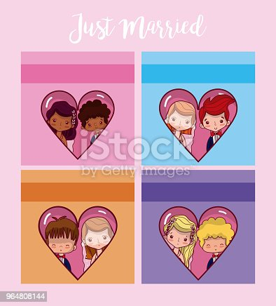 Just Married Card Stock Vector Art & More Images of Adult 964808144