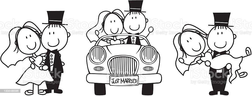 just married cartoon vector art illustration