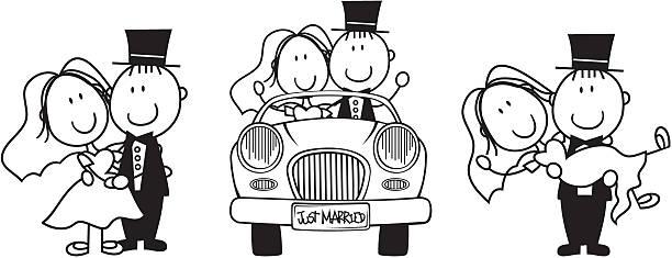 just married comic - hochzeitspaare stock-grafiken, -clipart, -cartoons und -symbole