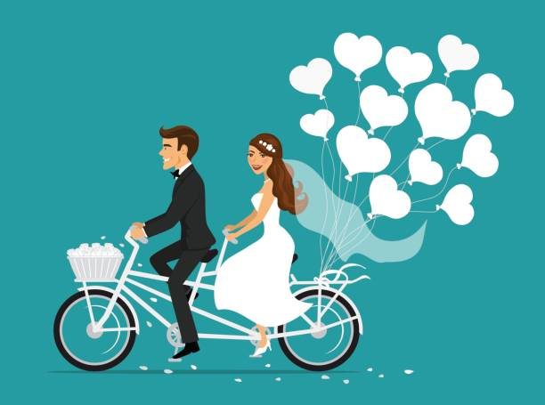 Just married couple bride and groom riding tandem bicycle Just married couple bride and groom riding tandem bicycle with heart balloons bridegroom stock illustrations