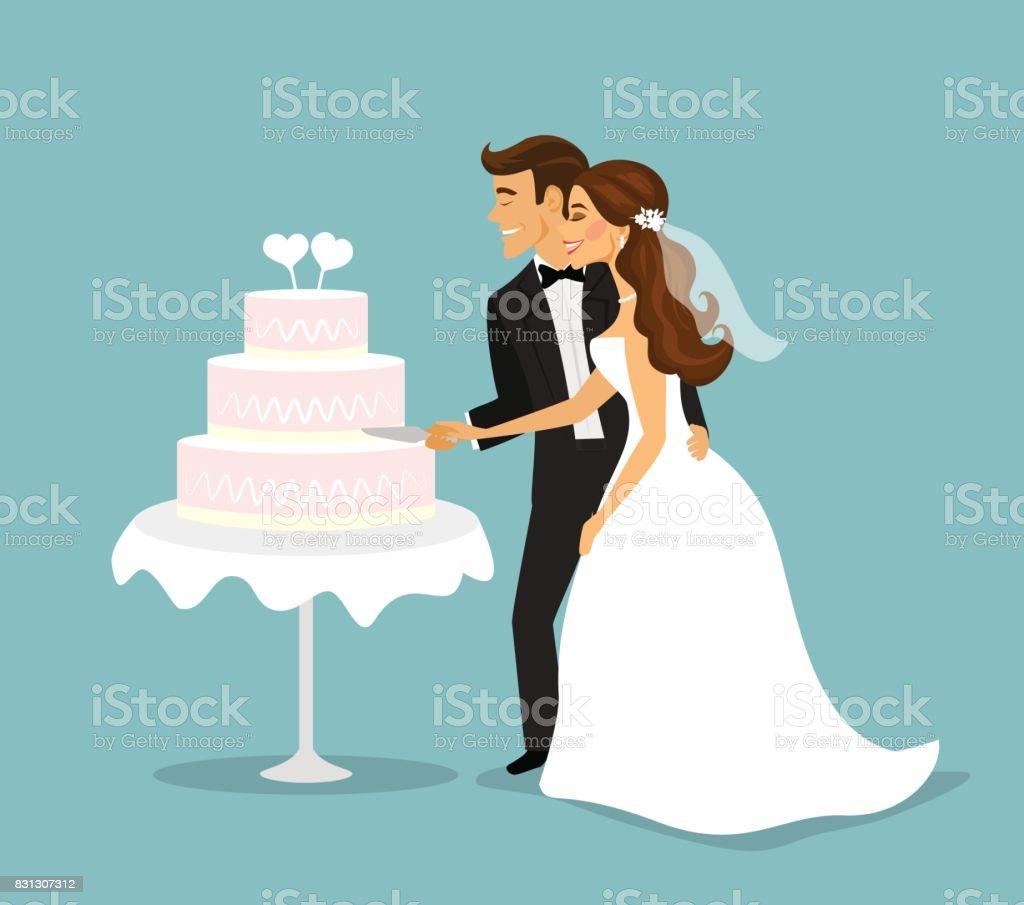 Just Married Couple Cutting Wedding Cake Stock Illustration