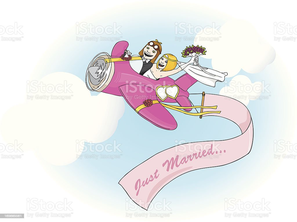 Just married couple in airplane royalty-free stock vector art