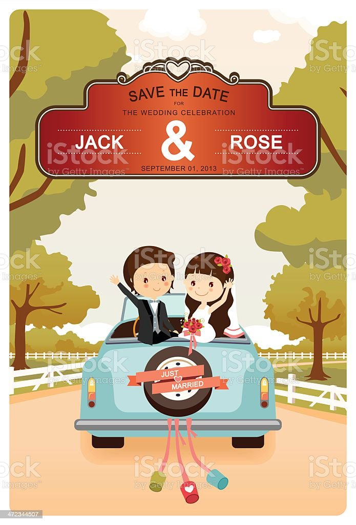 Just Married : Cute Wedding Car On The Road vector art illustration