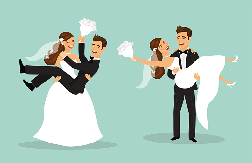 Just married funny couple, bride and groom carry each other after wedding ceremony