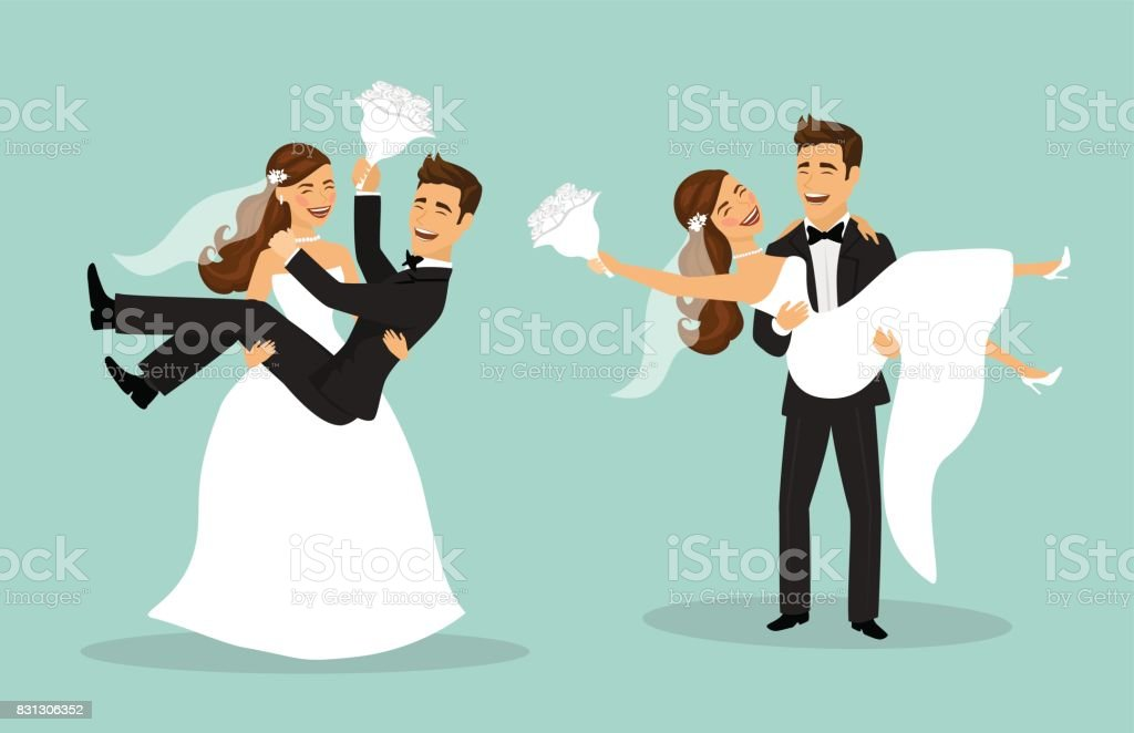 Just married funny couple, bride and groom carry each other after wedding ceremony vector art illustration