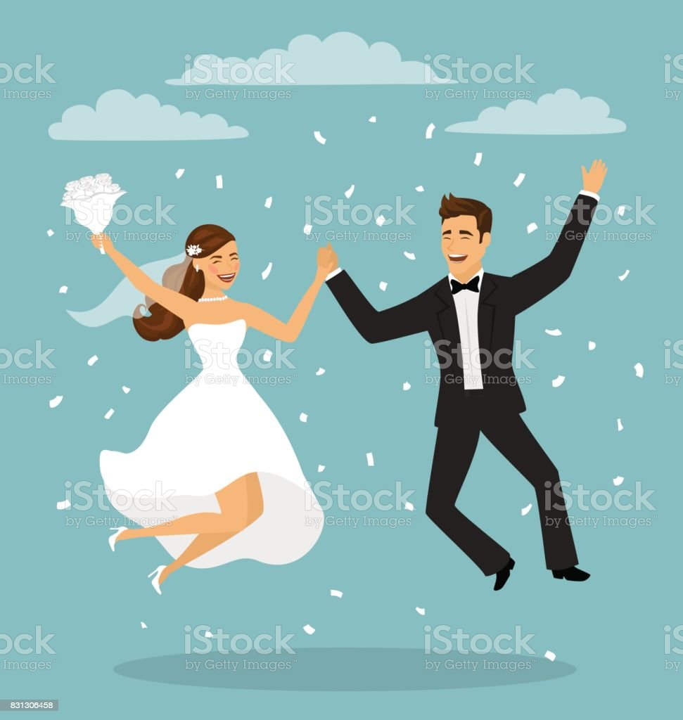 Just married funny couple, bride and groom jumping after wedding ceremony vector art illustration