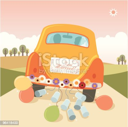 istock Just Married: getaway car with cans and balloons 96418400