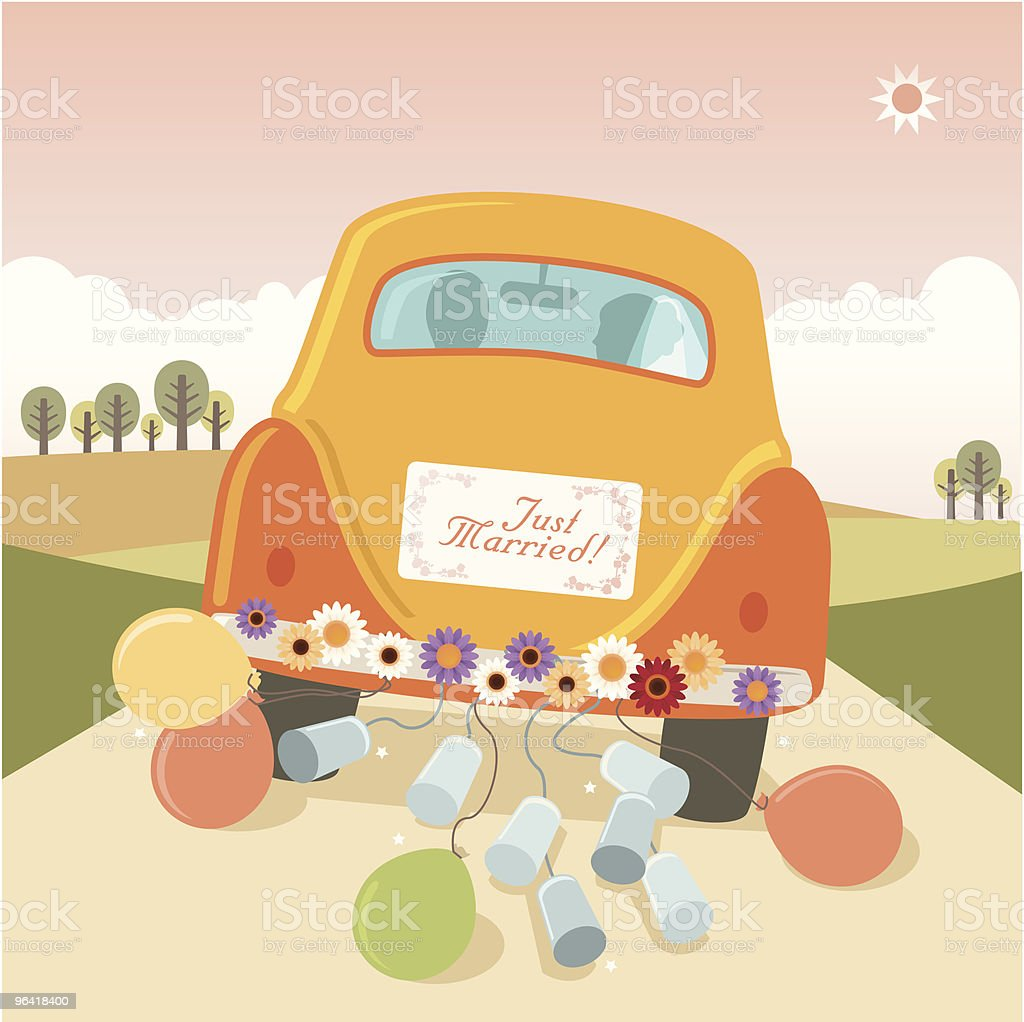 Just Married: getaway car with cans and balloons vector art illustration