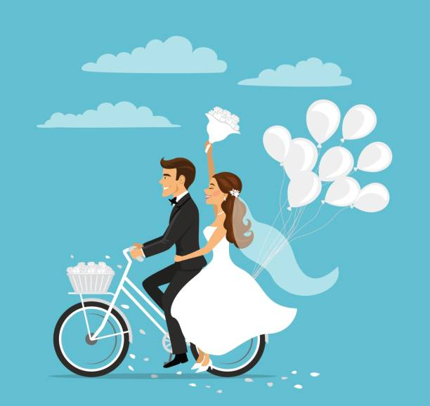 Just married happy couple bride and groom riding bicycle with balloons Just married happy couple bride and groom riding bicycle with balloons bridegroom stock illustrations