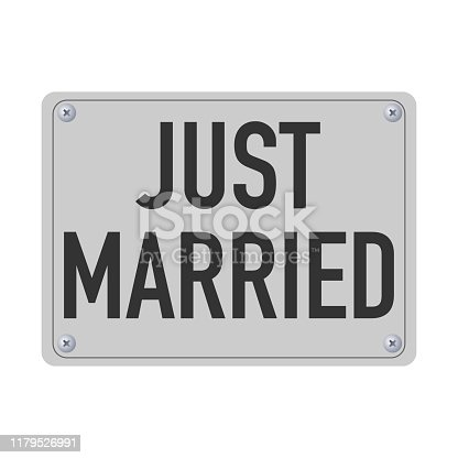 just married metal plate for the car vector