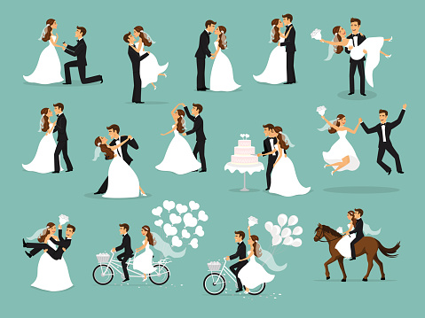 Just married , newlyweds, bride and groom set. wedding ceremony