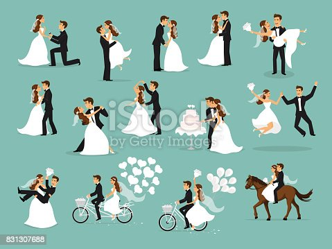 istock Just married , newlyweds, bride and groom set. wedding ceremony 831307688