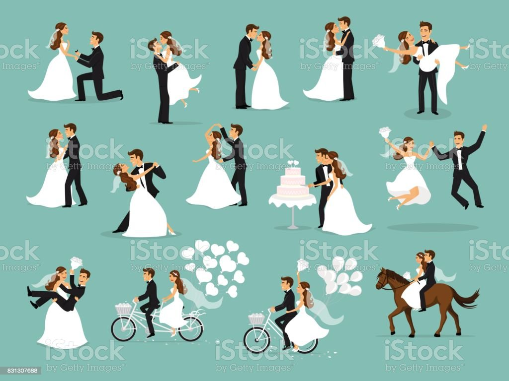 Just married , newlyweds, bride and groom set. wedding ceremony vector art illustration