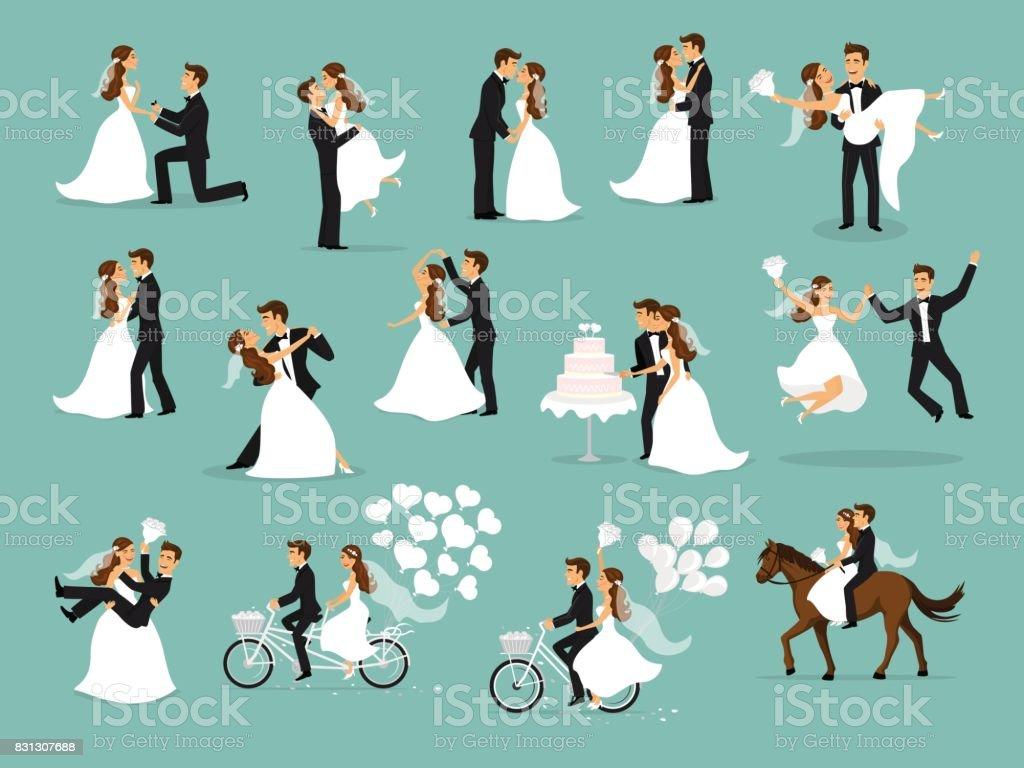 Vient de se marier, les jeunes mariés, la mariée et le marié définie. cérémonie de mariage - Illustration vectorielle