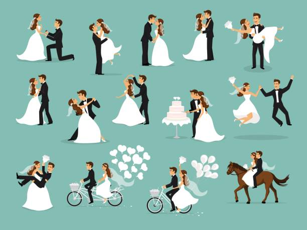 Just married , newlyweds, bride and groom set. wedding ceremony Just married , newlyweds, bride and groom set. Happy Couple celebrating marriage, dancing, kissing, hugging, holding each other in arms, cut cake, riding bike and horse, jumping after ceremony bridegroom stock illustrations