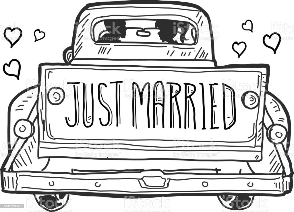 Just Married Old fashioned pick up truck tailgate with watercolor texture