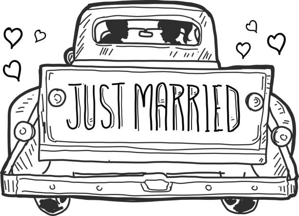 just married old fashioned pick up truck tailgate with watercolor texture - wedding stock illustrations, clip art, cartoons, & icons