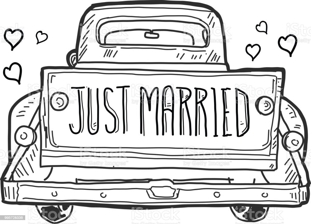 just married old fashioned pick up truck tailgate with