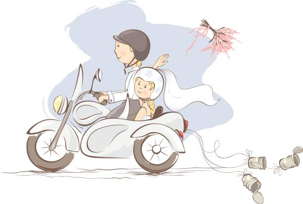 Just married on a motorcycle vector art illustration