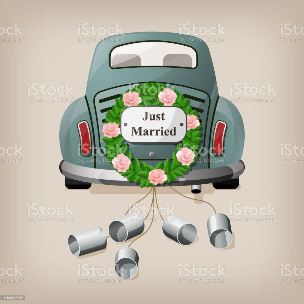 Just married on car. vector art illustration