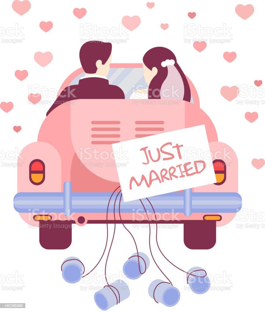Just Married on Car. Vector Illustration vector art illustration