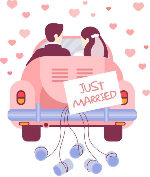 just married auf dem auto. vektor-illustration - hochzeitspaare stock-grafiken, -clipart, -cartoons und -symbole