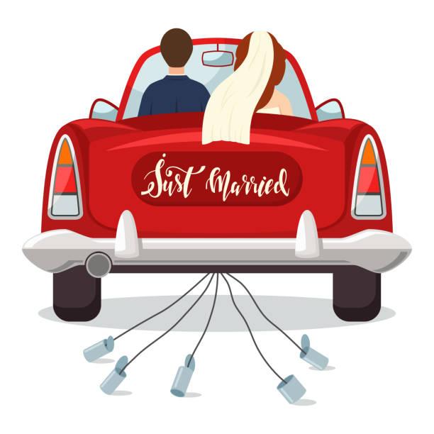 frisch verheiratete rotes auto mit der braut und bräutigam. hochzeit-vektor-illustration mit einem brautpaar isoliert auf einem weißen hintergrund. - hochzeitspaare stock-grafiken, -clipart, -cartoons und -symbole