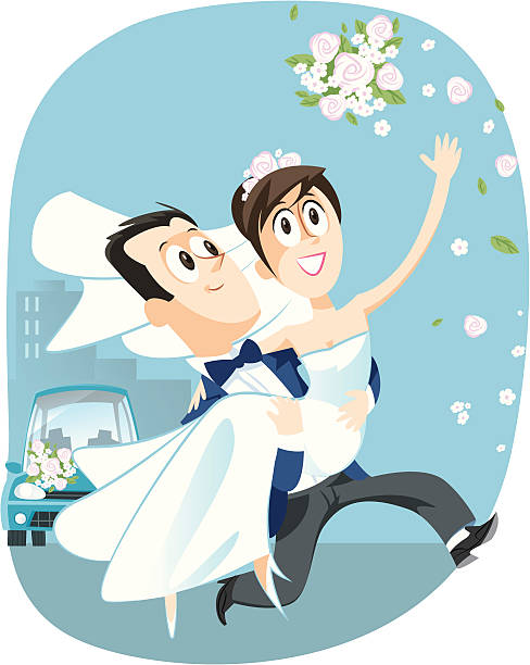 just married - hochzeitspaare stock-grafiken, -clipart, -cartoons und -symbole