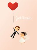 A vector illustration of a happy bride and groom being lifted away by a heart-shaped balloon. Bride, groom and balloon are all grouped together on the same layer. Text is on a separate layer, making it easy to remove if desired. AI 10 file. Linear and radial gradients used. Transparency used. No meshes.