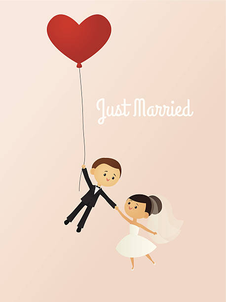 Just Married A vector illustration of a happy bride and groom being lifted away by a heart-shaped balloon. Bride, groom and balloon are all grouped together on the same layer. Text is on a separate layer, making it easy to remove if desired. AI 10 file. Linear and radial gradients used. Transparency used. No meshes. bridegroom stock illustrations