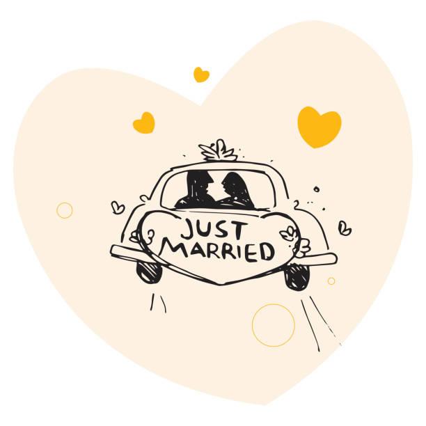 bildbanksillustrationer, clip art samt tecknat material och ikoner med just married - nygift