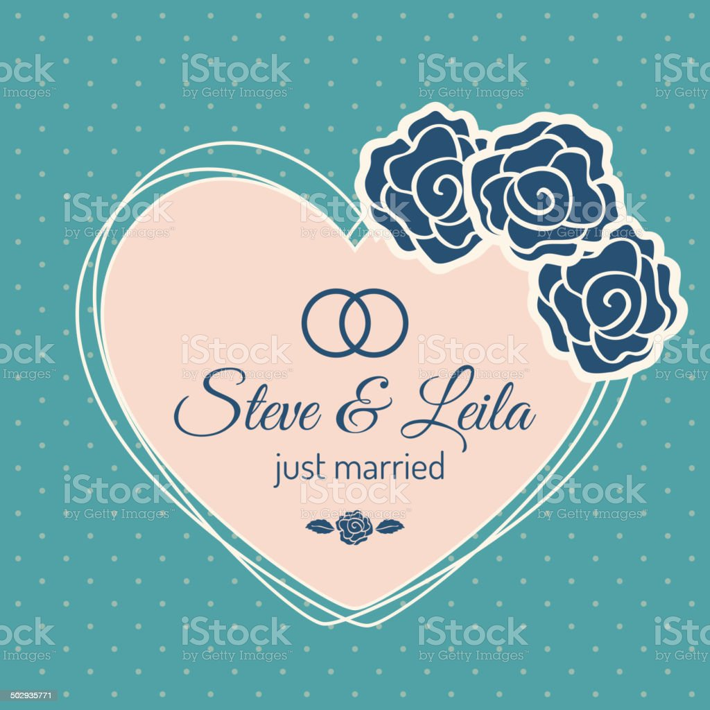 Just Married Wedding Card royalty-free stock vector art