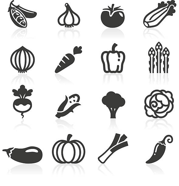 just vegetables icons - lettuce stock illustrations