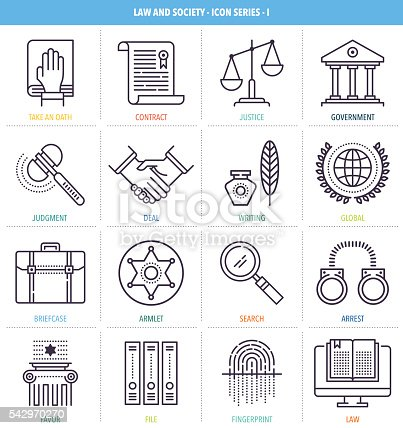 Thin line icons set. Icons for law, order, society, police, justice and equality.