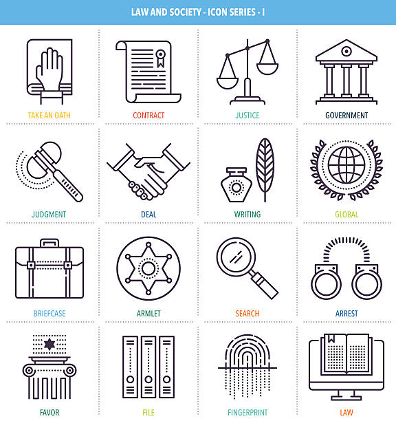 Justice and Equality Icon Set Thin line icons set. Icons for law, order, society, police, justice and equality. police meeting stock illustrations