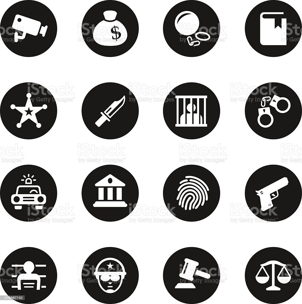 Justice and Law Icons - Black Circle Series vector art illustration