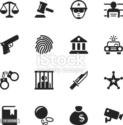 Justice and Law Silhouette Vector File Icons.