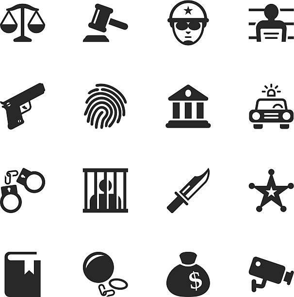 illustrations, cliparts, dessins animés et icônes de la justice et droit icônes de silhouette - prison
