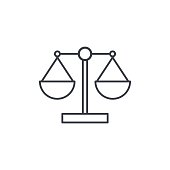 justice and law symbol, scales thin line icon. Linear vector symbol