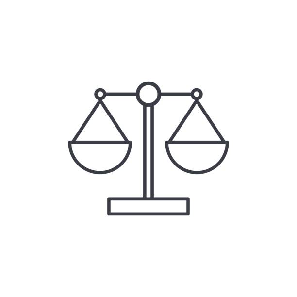 justice and law symbol, scales thin line icon. Linear vector symbol vector art illustration