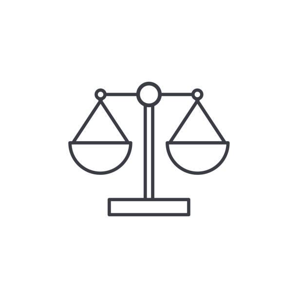 정의와 법 기호 선 아이콘을 확장 됩니다. 선형 벡터 기호 - 균형 stock illustrations