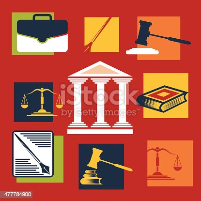 Justice and law. Vector icons.Flat design