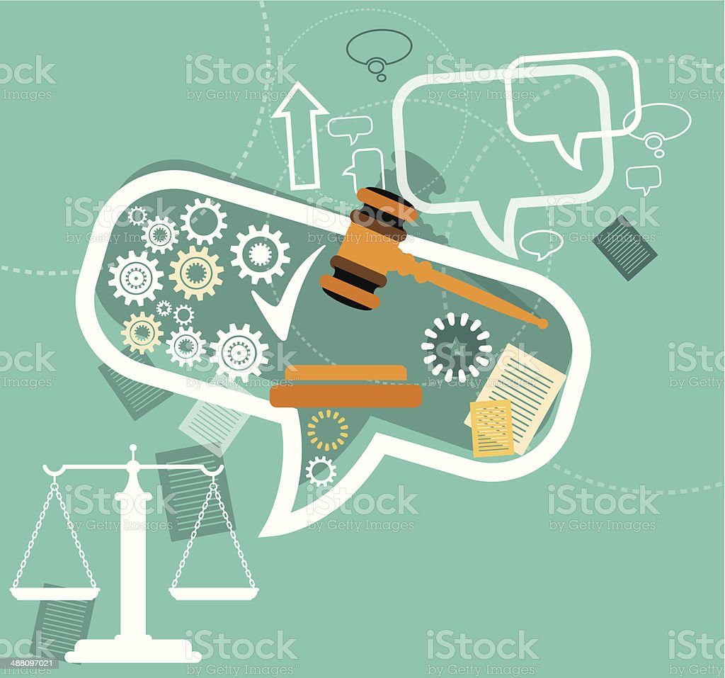 Justice and law vector art illustration