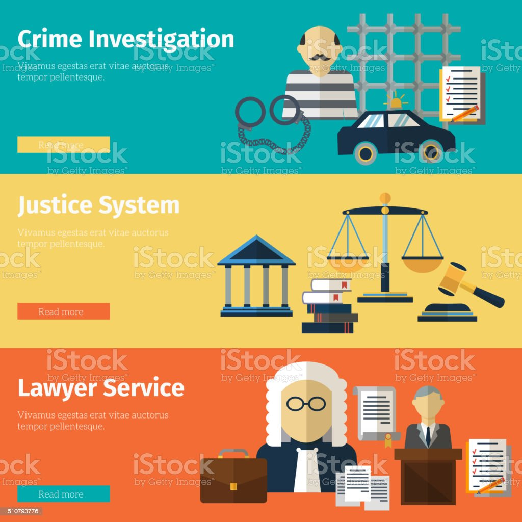 Justice and lawyer service vector banners set vector art illustration