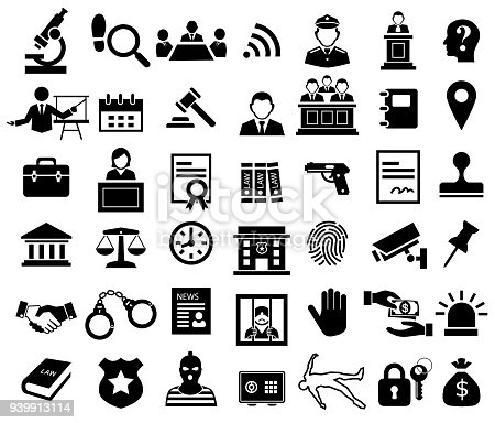 justice and legal sign icon set