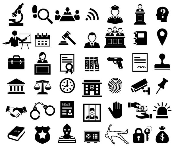 justice and legal sign icon set justice and legal sign icon set crime stock illustrations