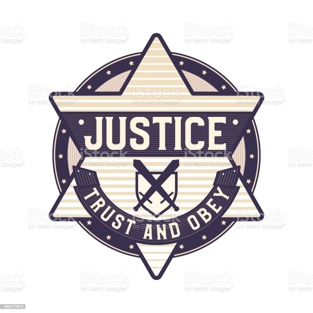 Justice Badge Trust And Obey Symbol Star Sheriff Icon Concept Stock