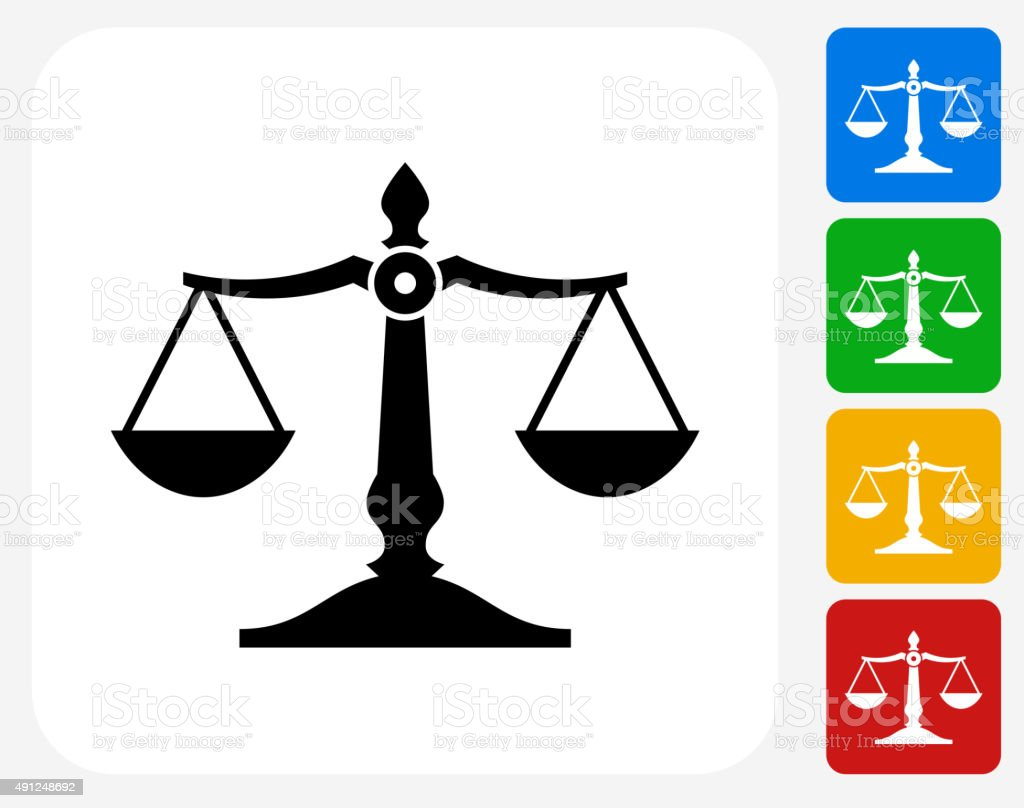 Justice Balance Icon Flat Graphic Design vector art illustration